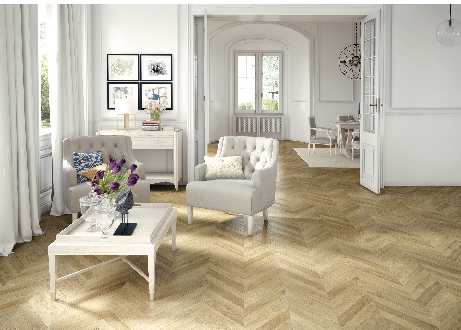 Laminate Flooring Chevron Natural